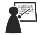A staff member pointing to text on a blackboard