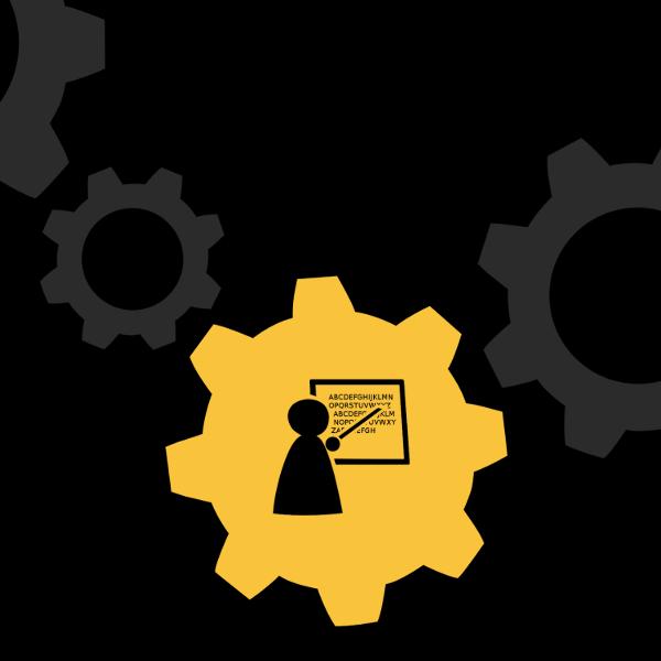 A mechanical gear with an illustration of a teacher inside of it